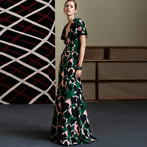 Runway Designer Vintage Modern Green Long Dress