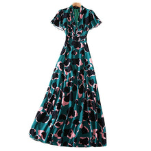 Load image into Gallery viewer, Runway Designer Vintage Modern Green Long Dress