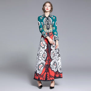 Runway Charming Floral Maxi Long Dresses
