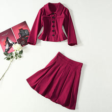 Load image into Gallery viewer, Kate Middleton Single Breasted Vintage Skirt & Blouse Set