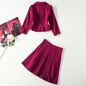 Kate Middleton Single Breasted Vintage Skirt & Blouse Set