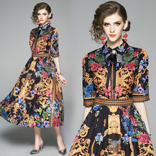 Load image into Gallery viewer, Half Sleeve Floral Runway Midi Dress