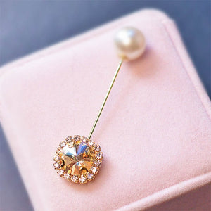 Boutonniere Brooch Pin Accessories Large Rhinestone