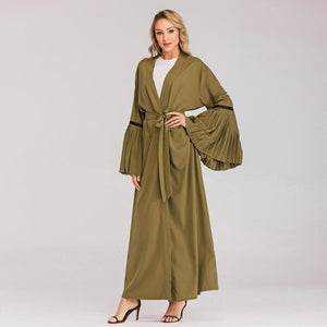 Pleated Fan Sleeve Abaya Cardigan
