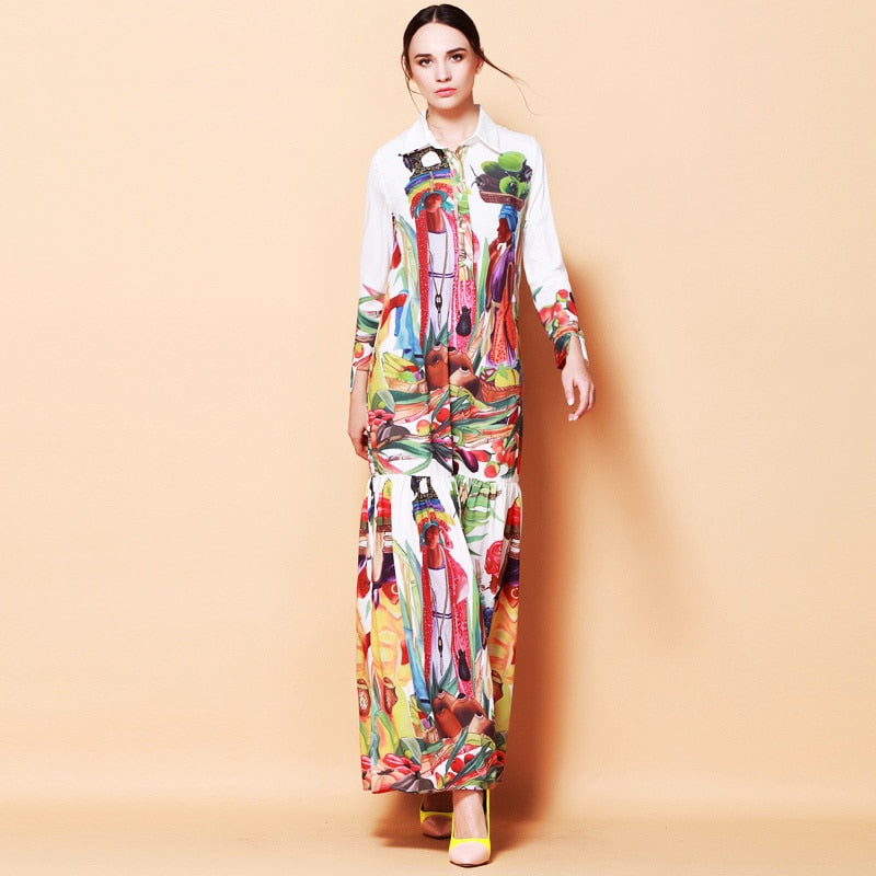 Runway Printed Paris Long Dress