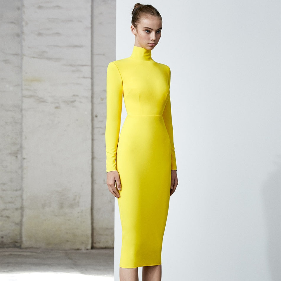 Runway 2020 Bodycon Solid Midi Dress
