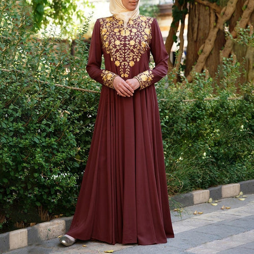 Donna Embroidery Modest Dress Plus Size Available