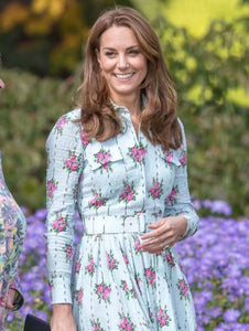 Kate Middleton Princess Lapel Cotton And Hemp Rose Midi Dress