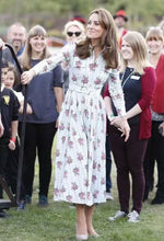 Load image into Gallery viewer, Kate Middleton Princess Lapel Cotton And Hemp Rose Midi Dress