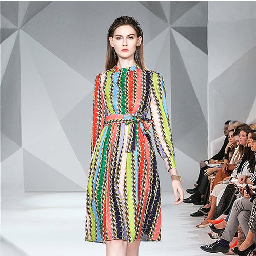 2020 Runway Multi Color Midi Dress