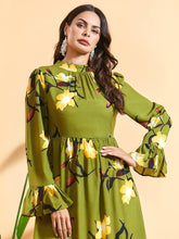 Load image into Gallery viewer, Serine Olive Modest Floral Dress Plus Size Available