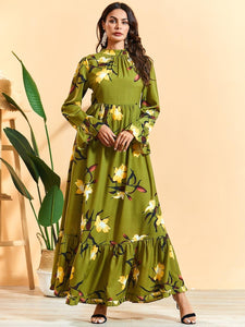 Serine Olive Modest Floral Dress Plus Size Available