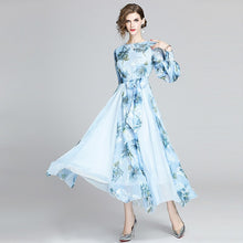 Load image into Gallery viewer, Runway Floral Chiffon Long Dress