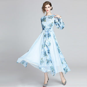 Runway Floral Chiffon Long Dress