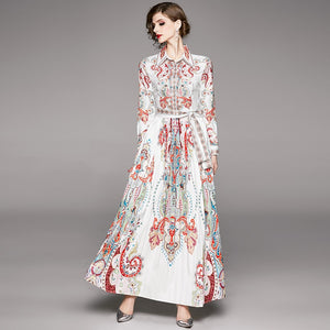 Runway Vintage Maxi Fluer Long Dress