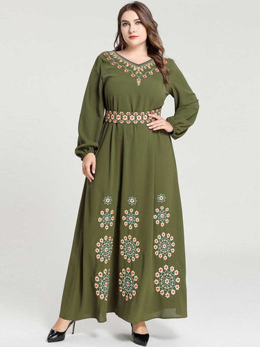Rytia Army Green Embroidery Modest Dress Plus Size Available