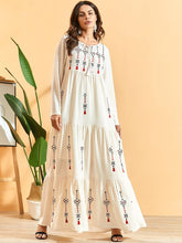 Load image into Gallery viewer, Pleated Embroidered Bohemian Maxi long Dress Plus Size Available