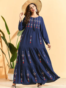 Pleated Embroidered Bohemian Maxi long Dress Plus Size Available