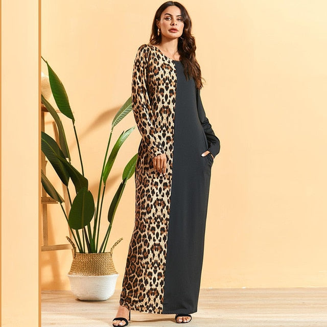 Mama Sita Cheetah Print Modest Modern Dress