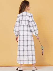 Plaid Comfy Cotton Kids Girls Abaya