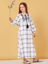 Load image into Gallery viewer, Plaid Comfy Cotton Kids Girls Abaya