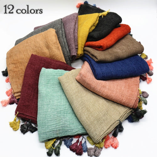 10 pc/lot Candy Color Tassel Shawl