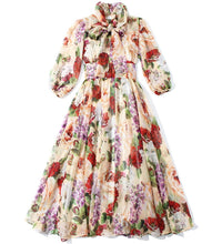 Load image into Gallery viewer, Dolce Gabanna Inspired Runway Midi Floral Dress