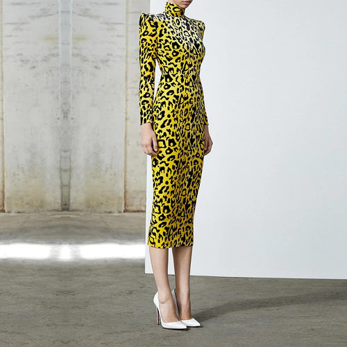 Runway 2020 Designer Yellow Cheetah Midi Dress