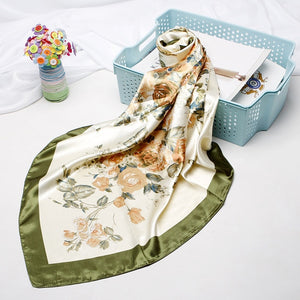 Floral Silk Satin Turkish Square Hijab