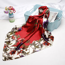 Load image into Gallery viewer, Floral Silk Satin Turkish Square Hijab