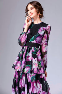 Spring Floral Runway Long Dress Plus Size Available