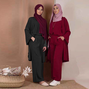 Three piece Abaya Cardigan Pantsuit