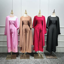 Load image into Gallery viewer, Three piece Abaya Cardigan Pantsuit