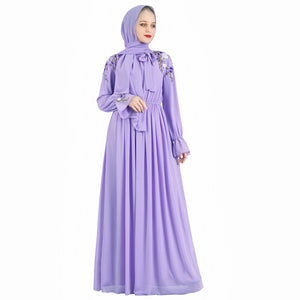 Orchid Vintage Flowy Dubai Abaya with embroideries
