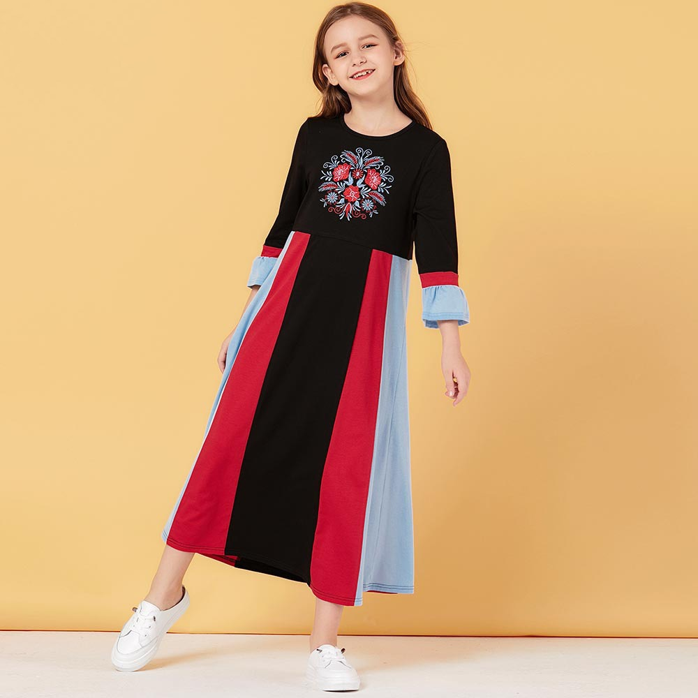Embroidered Floral Multi Colored Kids Abaya