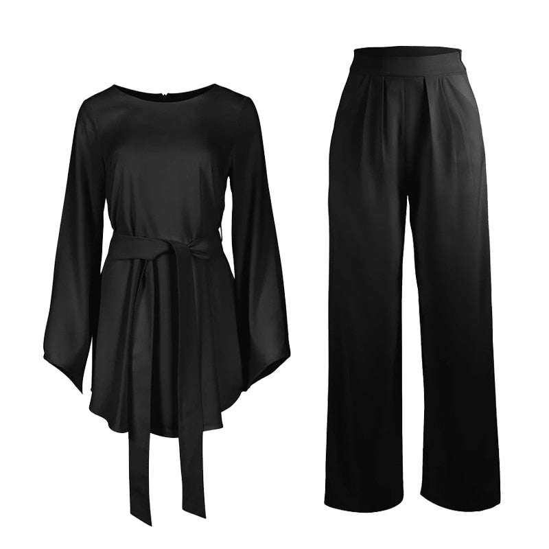 2 pc Style Modern Pansuit Set with Sash