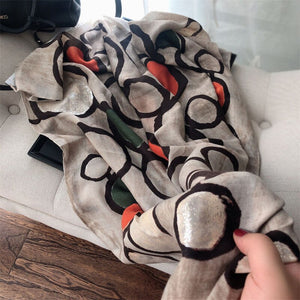 2020  Autumn Lurex Printed Wide Shawl Hijab