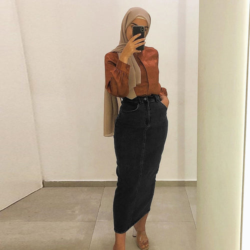 Busha Urban Modest Denim Long Skirt