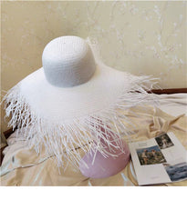Load image into Gallery viewer, Oversized Hat 18-20cm Tassel Beach Hats Foldable Sun Shade