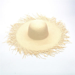 Oversized Hat 18-20cm Tassel Beach Hats Foldable Sun Shade