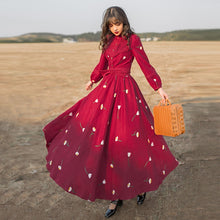 Load image into Gallery viewer, Corduroy Swing Flare long Modest Dress