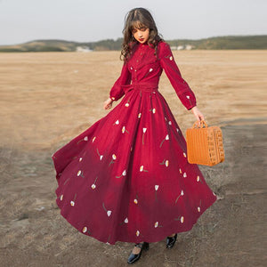 Corduroy Swing Flare long Modest Dress