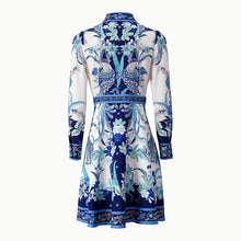 Load image into Gallery viewer, Runway Vintage blue and white porcelain lapel Midi Dress