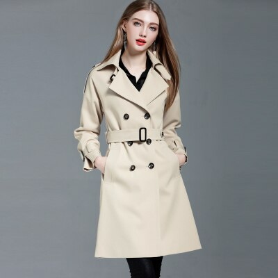 Haute Couture European Slimming Long Trench Coat Outerwear