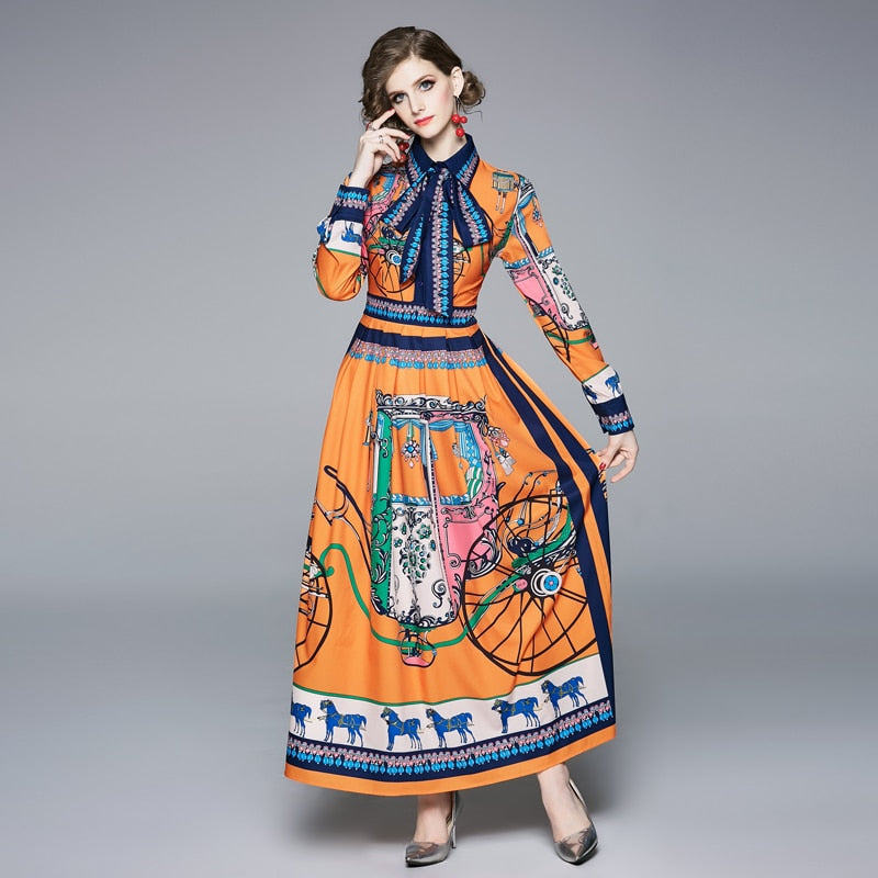 Runway Coach Floral Maxi Long Dress