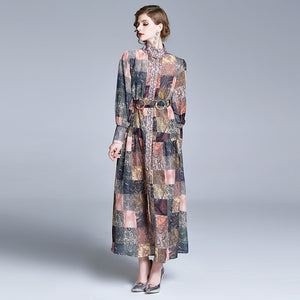 Runway Retro Art Print Elegant Vintage Long Dress