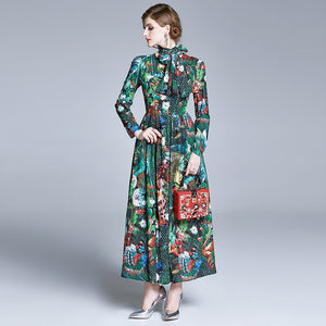 Runway Floral Printing Long Chiffon Beach Dress