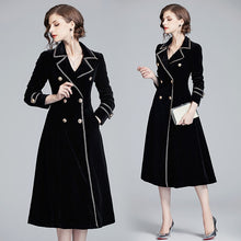 Load image into Gallery viewer, Runway Notched Collar Long Jacket Coat Velvet Black long dress