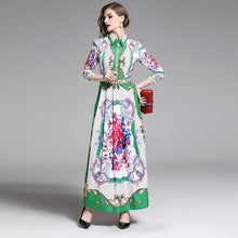 Load image into Gallery viewer, Runway Plaid Floral Maxi Long Dress