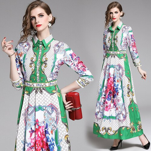 Runway Plaid Floral Maxi Long Dress